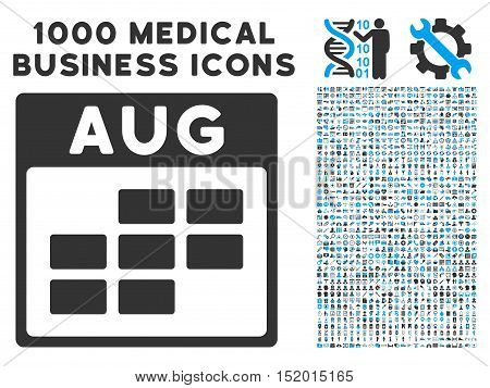 Blue And Gray August Calendar Grid vector icon with 1000 medical business pictograms. Set style is flat bicolor symbols, blue and gray colors, white background.