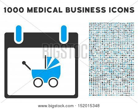 Blue And Gray Baby Carriage Calendar Day vector icon with 1000 medical business pictograms. Set style is flat bicolor symbols, blue and gray colors, white background.
