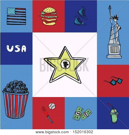 Checkered concept in american national colors with country related symbols. Hollywood star, popcorn, baseball, sneakers, sunglasses, Statue of Liberty, hamburger, soda, USA flag drawn vector icons