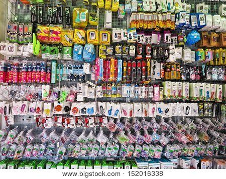 BANGKOK, THAILAND - OCTOBER 2, 2016: Mobile phone accessory market at suapa road