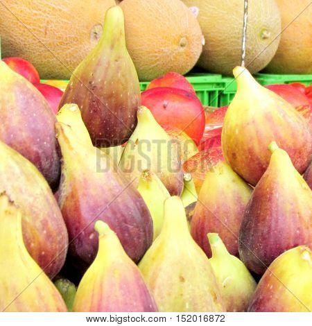 Fresh figs and melons on bazaar in Tel Aviv Israel June 28 2012