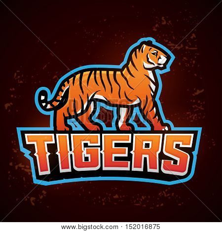 Tiger mascot vector. sport logo design template. Football or baseball illustration. College league insignia, School team logotype on fire background
