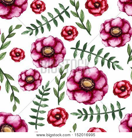 Watercolor Burgundy and Scarlet Flowers Green Leaves Seamless Pattern