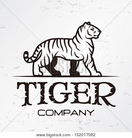 Tiger logo emblem template. Brand mascot symbol for business or shirt. Vector Vintage Design Element