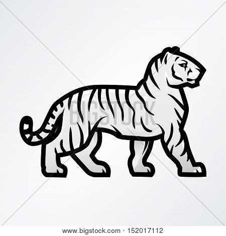 Tiger logo vector. Mascot design template. Shop or product illustration. Expedition insignia, Sport team logotype on light background