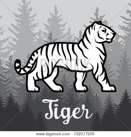 Double exposure White Tiger in forest poster design. vector illustration on foggy background