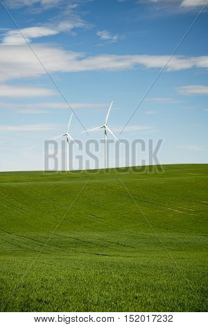 Wind turbines on a wheat farm in Eastern Colorado off I-70 near Limon Colorado