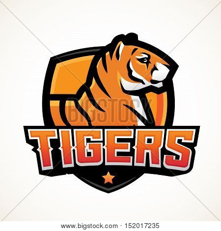 Tiger shield sport mascot template. Premade football or basketball patch design. College league insignia, High school team vector.