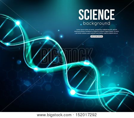 Glowing DNA on dark blue background biotechnology and medicine. Vector illustration EPS 10 format