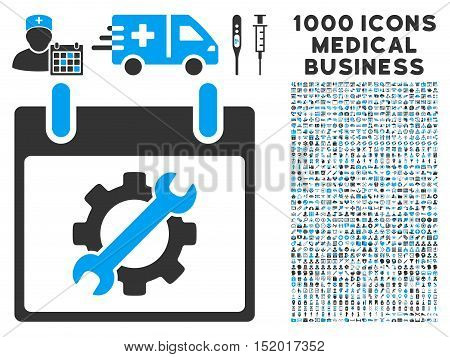 Blue And Gray Configuration Tools Calendar Day vector icon with 1000 medical business pictograms. Set style is flat bicolor symbols, blue and gray colors, white background.