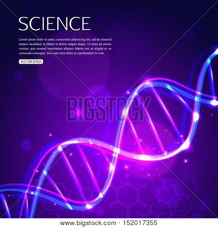 Glowing DNA on purple background biotechnology and medicine. Vector illustration EPS 10 format