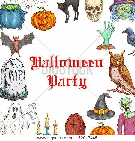 Halloween Party invitation card design with traditional halloween celebration symbols of pumpkin, skull, coffin, witch hat, zombie hand from grave, spooky ghost. Decoration color sketch elements for halloween greeting banner, poster, placard