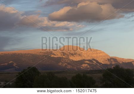 Sleeping indian overlooks the Gros Ventre of the Tetons at sunset