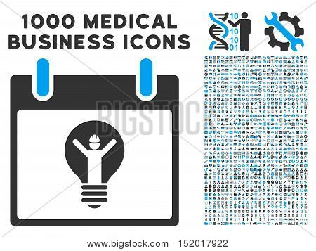 Blue And Gray Electrician Calendar Day vector icon with 1000 medical business pictograms. Set style is flat bicolor symbols, blue and gray colors, white background.