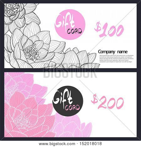 Gift card with delicate pink lily in black and white and color version