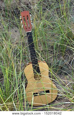 six string guitar in beach grass and sand