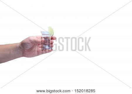 Drink Responsibly!  Adult Hand With Shot Of Tequila