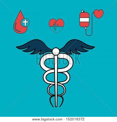 medical symbol and medicine icon set over blue background. vector illustration