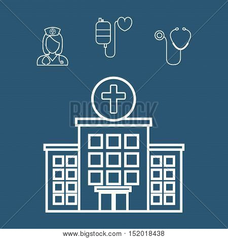 medical hospital center building and medicine icons over blue background. vector illiustration