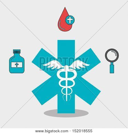 medical symbol and medicine icon set over white background. vector illustration