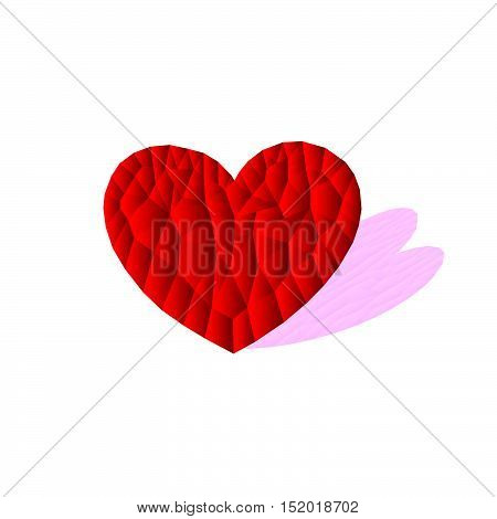 polygon red heart icon with pink shadow, vector, illustration, copy space for text, valentine day