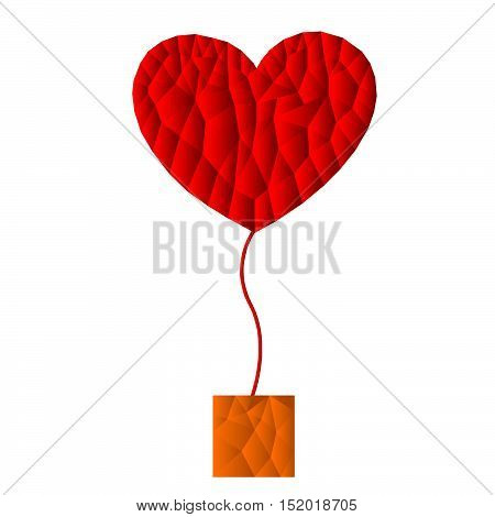 polygon red heart icon with brown box, vector, illustration, copy space for text, valentine day