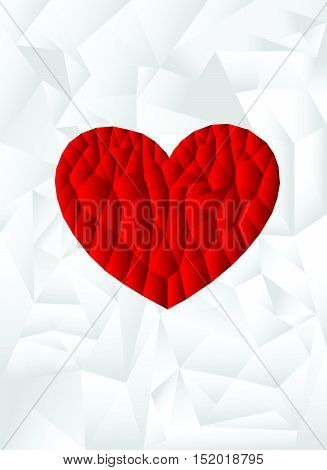 polygon red heart with white background, vector, illustration, copy space for text, valentine day, A4 size, cover paper, portrait