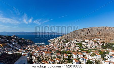 Top view, panorama of the island of Hydra, Greece.