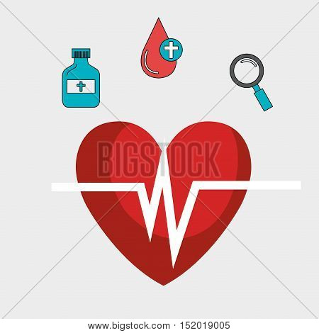 cardio pulse heart and medical icon set over white background. vector illustration