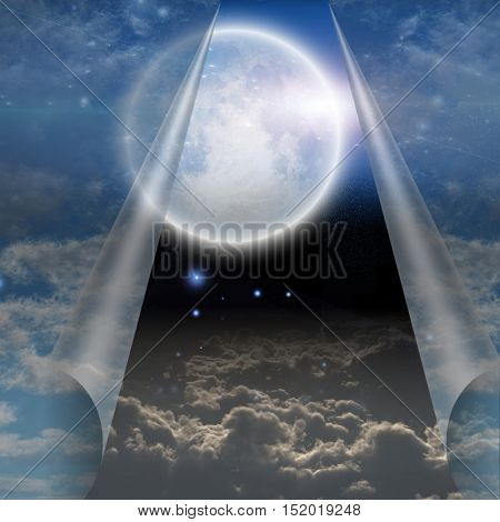 Veil of sky pulled open to reveal other  Some elements provided courtesy of NASA  3D Render