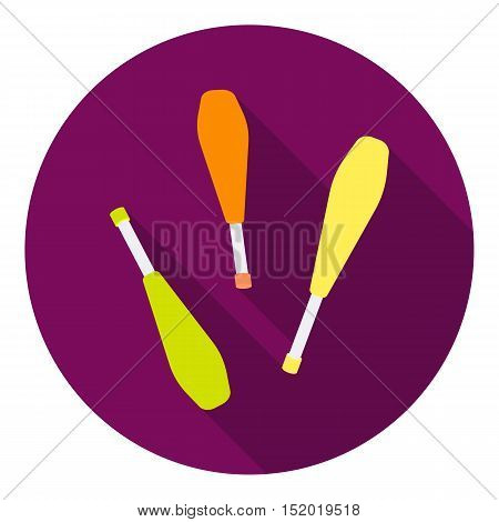 Juggling clubs icon in flat style isolated on white background. Circus symbol vector illustration.