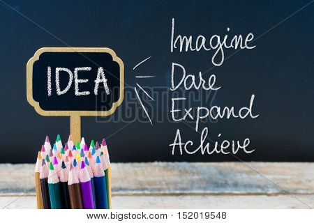 Business Acronym Idea Imagine Dare Expand Achieve Written With Chalk On Wooden Mini Blackboard Label