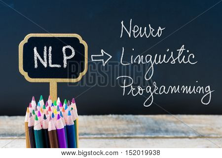 Business Acronym Nlp Neuro Linguistic Programming Written With Chalk On Wooden Mini Blackboard Label