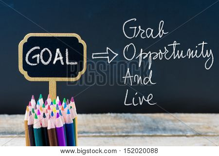 Business Acronym Goal Grab Opportunity And Live Written With Chalk On Wooden Mini Blackboard Labels