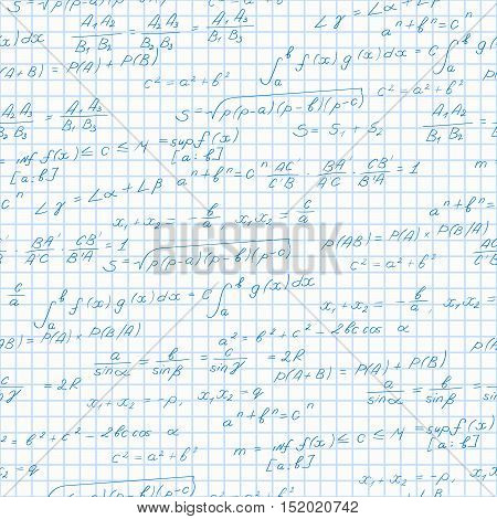 Seamless pattern on the theme of the subject of mathematics formulas theorems on the notebook sheet in a cage