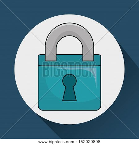 security padlock object over white circle and blue background. vector illustration