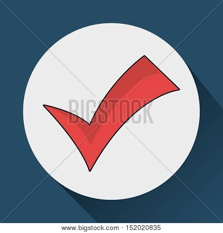 red check mark over white circle and blue background. vector illustration
