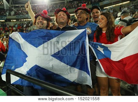 RIO DE JANEIRO, BRAZIL - AUGUST 14, 2016: Scotland's fans support olympic champion Andy Murray of Great Britain during men's singles final of the Rio 2016 Olympic Games at the Olympic Tennis Centre