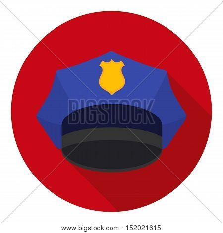 Police cap icon in flat style isolated on white background. Hats symbol vector illustration.