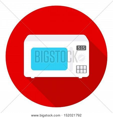 Microwave icon in flat style isolated on white background. Household appliance symbol vector illustration.