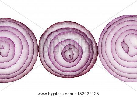 Slices of red onion isolated on white background close up.