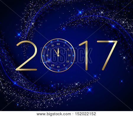 2017 Happy New Year background with gold clock for poster, banner, placard. Vector illustration eps 10 format.