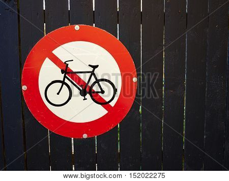 Red and white road sign No Entry Access for bicycles