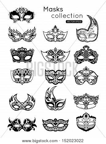 Set of party carnival masks icon isolated on white background. Vector illustration eps 10 format.