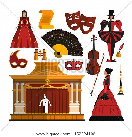 Vector set of theater object isolated on white background. Design elements and icons in flat style. Mask, dress, stage, actress.