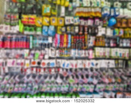 Abstract blur  Mobile phone accessory market at suapa road Bangkok