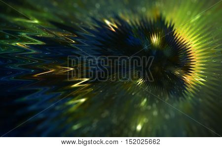 Cosmic dragon in space and stars, green cosmic abstract background. wavy linear effect, abstract version