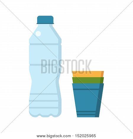 Water bottle and colorful plastic cup set vector illustration.