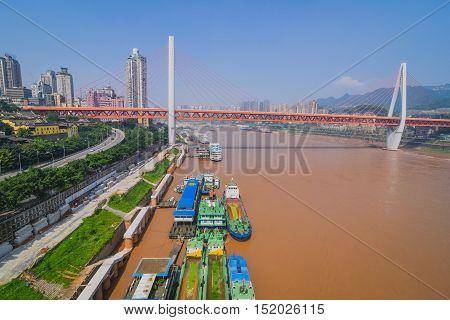 Skyscrapers and Yangtze River. Chongqing , China