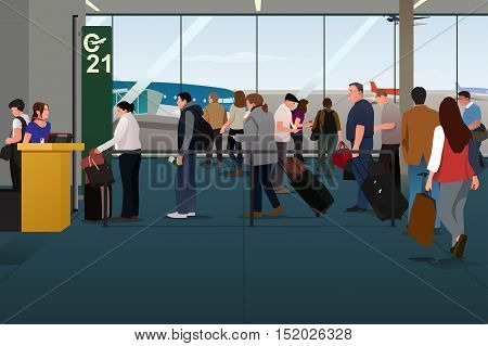 A vector illustration of Plane Passengers Boarding the Plane on the Departure Gate